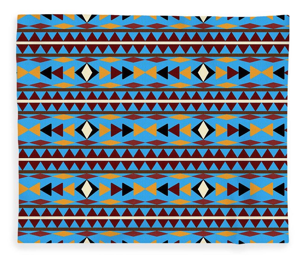 Navajo Fleece Blanket featuring the mixed media Navajo Blue Pattern by Christina Rollo