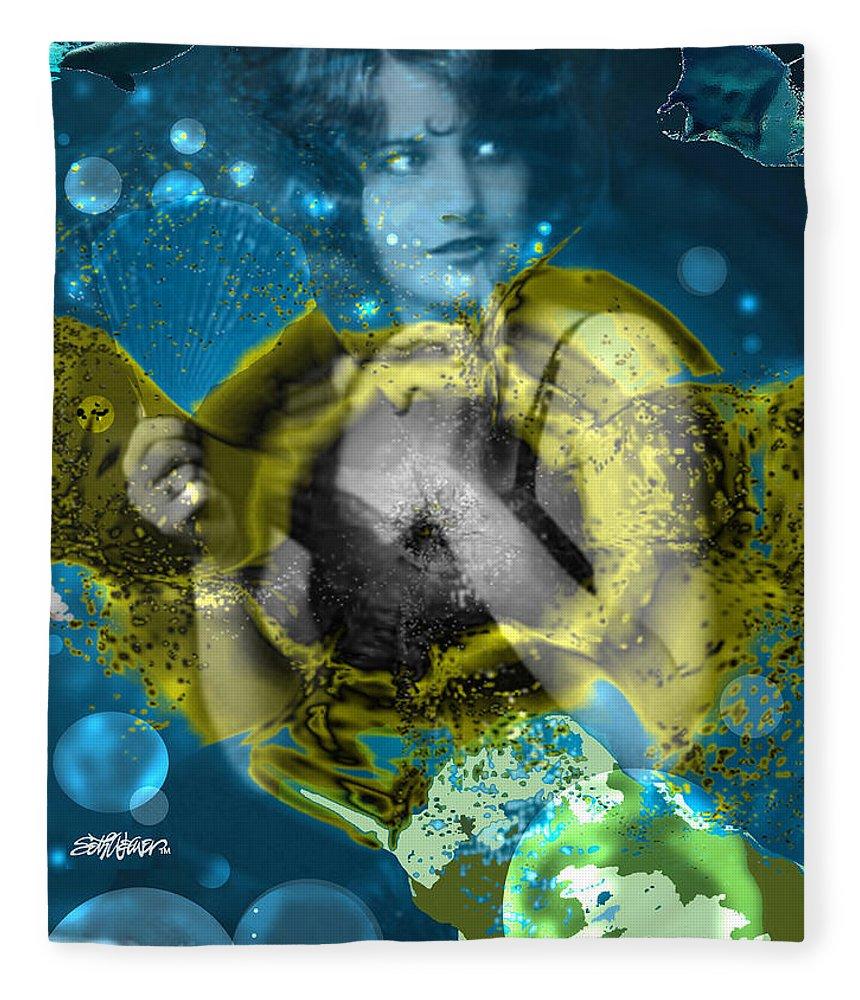 Neptune's Daughter Fleece Blanket featuring the digital art Neptune's Daughter by Seth Weaver