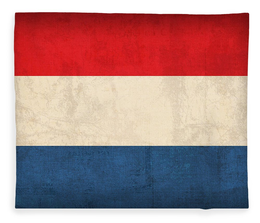 Netherlands Flag Vintage Distressed Finish Holland Europe Country Nation Dutch Fleece Blanket featuring the mixed media Netherlands Flag Vintage Distressed Finish by Design Turnpike