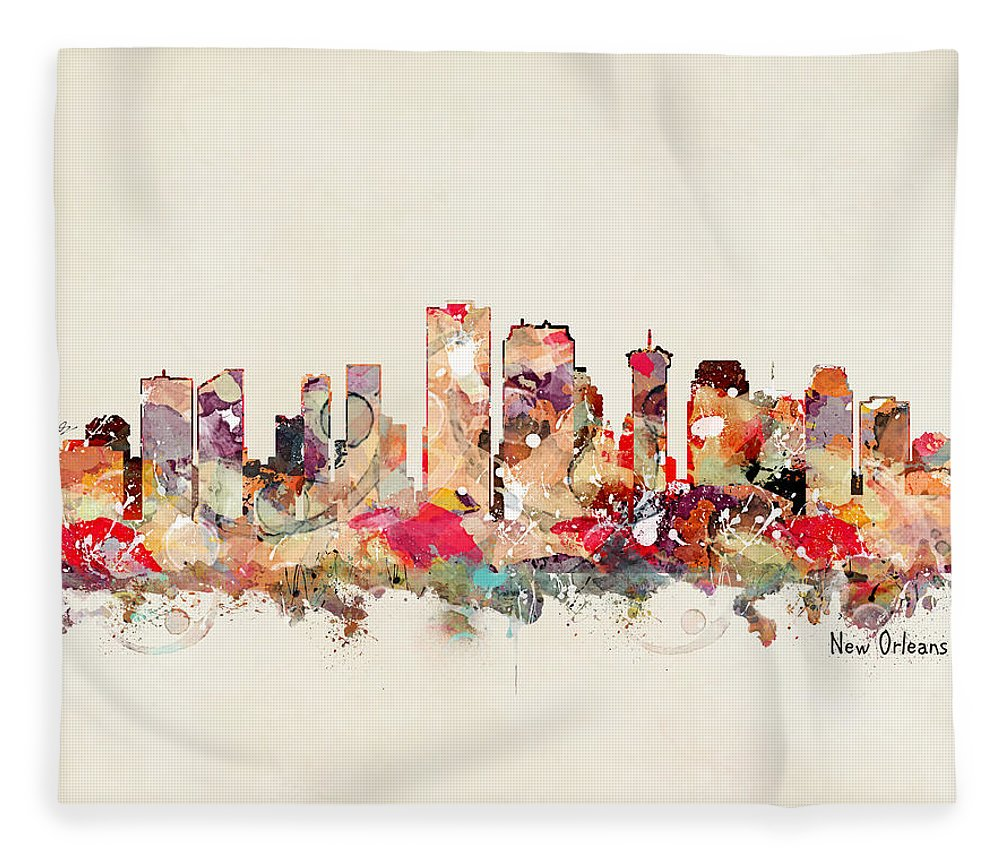 New Orleans Skyline Fleece Blanket featuring the painting New Orleans Louisiana by Bri Buckley