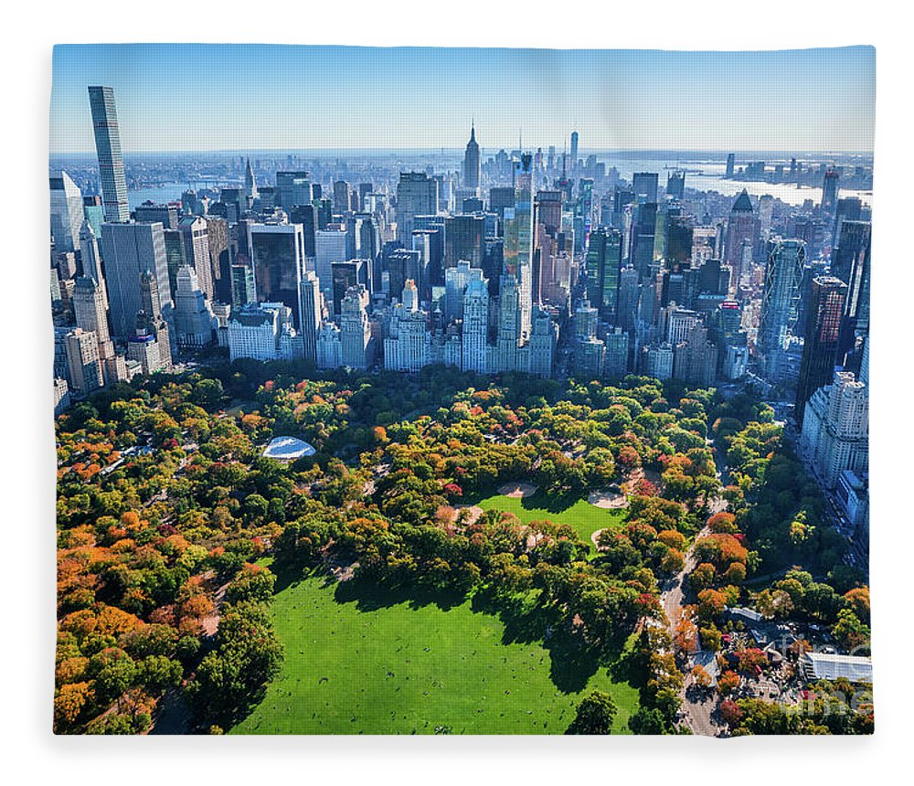 Central Park Fleece Blanket featuring the photograph New York City Skyline, Central Park by Dszc
