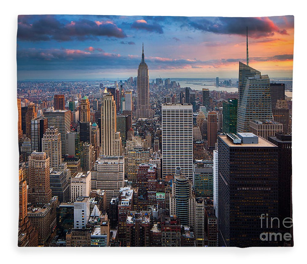 America Fleece Blanket featuring the photograph New York New York by Inge Johnsson