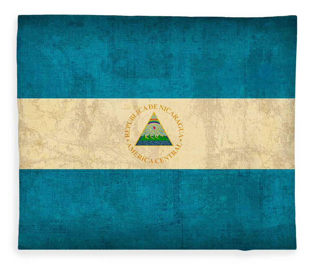Nicaragua Fleece Blanket featuring the mixed media Nicaragua Flag Vintage Distressed Finish by Design Turnpike