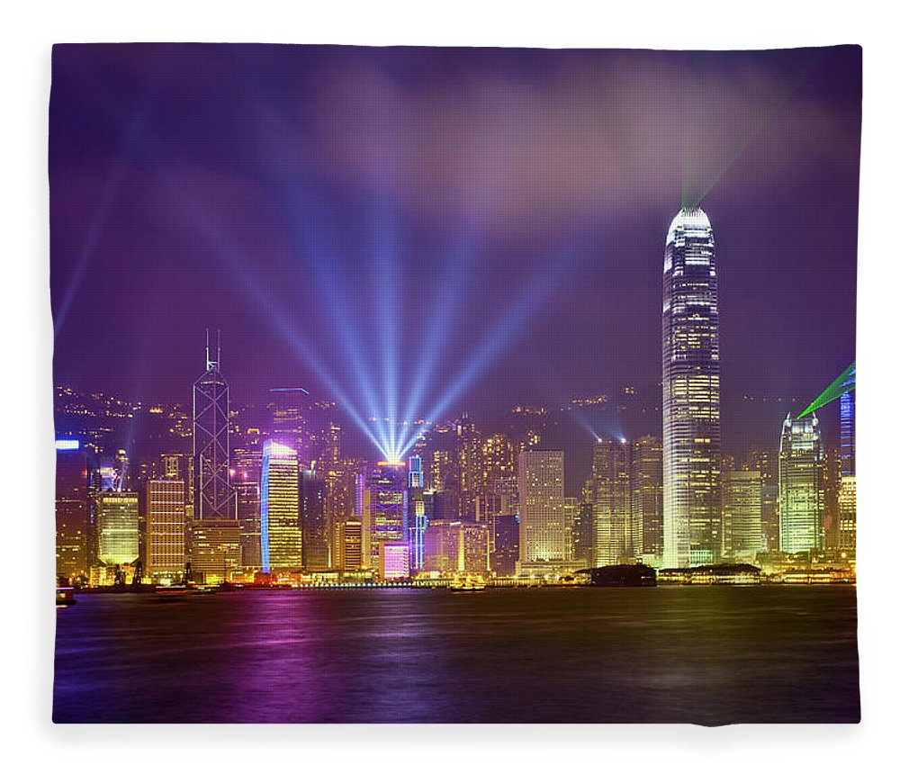 Chinese Culture Fleece Blanket featuring the photograph Night Cityscape Of Hongkong by Ithinksky