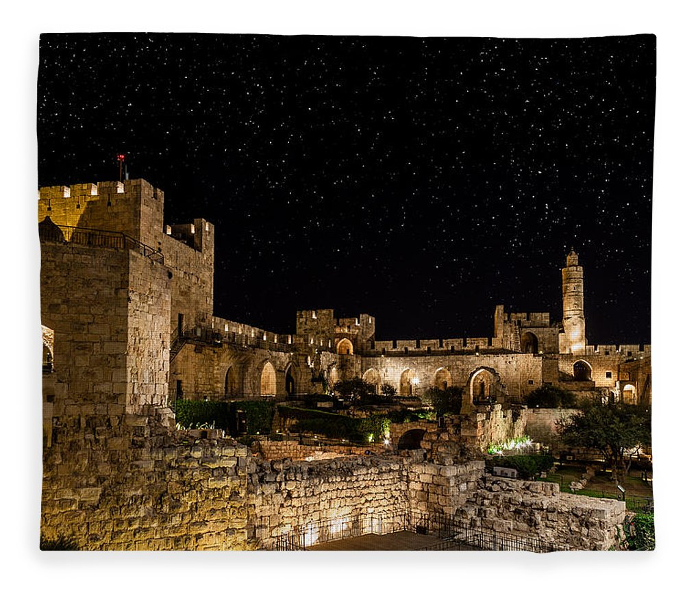Israel Fleece Blanket featuring the photograph Night In The Old City by Alexey Stiop
