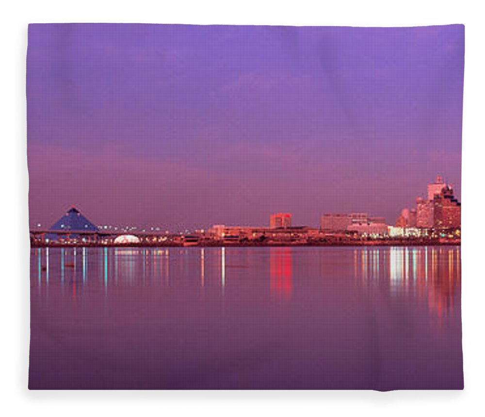 Photography Fleece Blanket featuring the photograph Night Memphis Tn by Panoramic Images