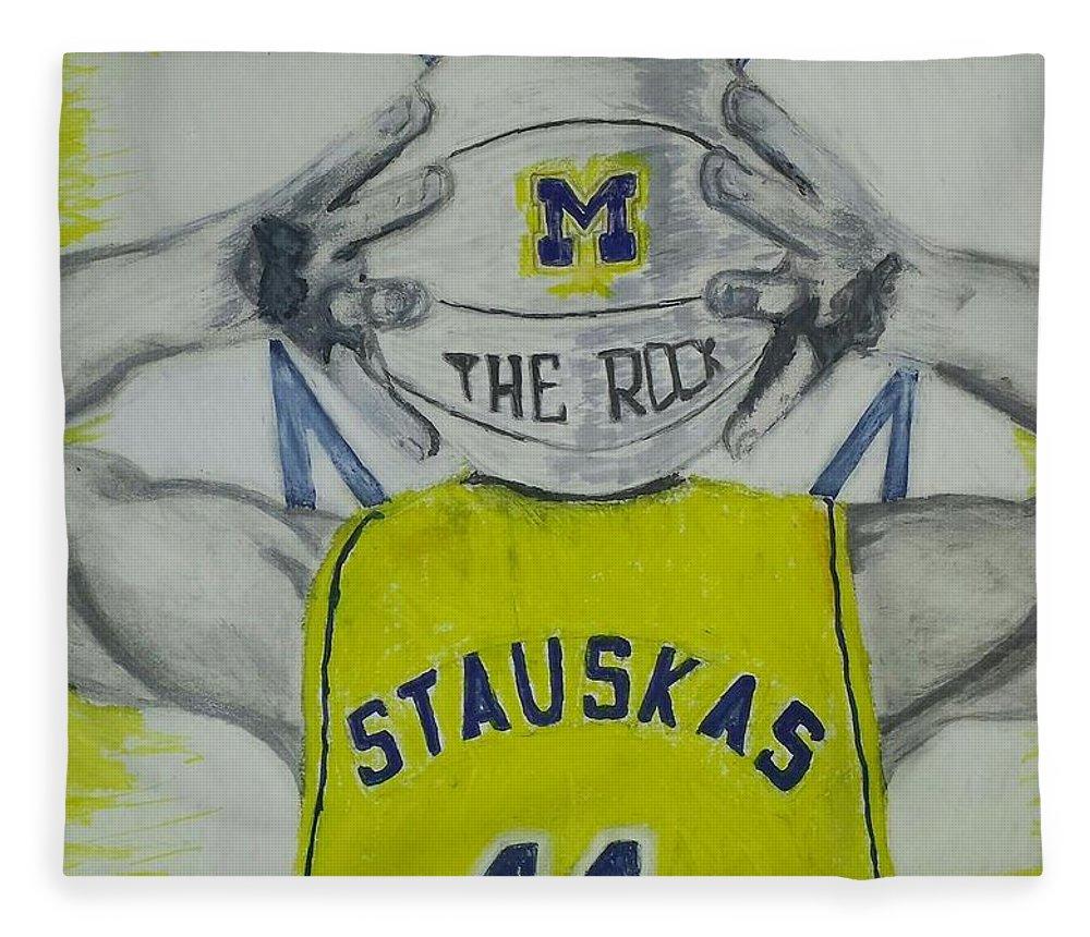 University Of Michigan Fleece Blanket featuring the drawing Nik Stauskas by Tyrone Scott