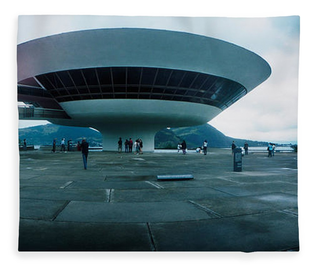 Photography Fleece Blanket featuring the photograph Niteroi Contemporary Art Museum by Panoramic Images