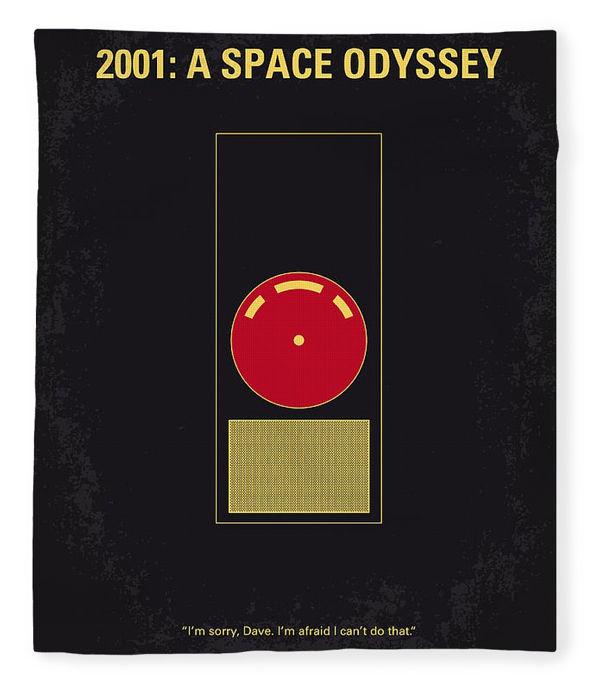 2001: A Space Odyssey Fleece Blanket featuring the digital art No003 My 2001 A space odyssey 2000 minimal movie poster by Chungkong Art