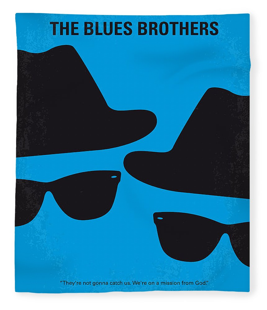 Blues Fleece Blanket featuring the digital art No012 My Blues Brother Minimal Movie Poster by Chungkong Art