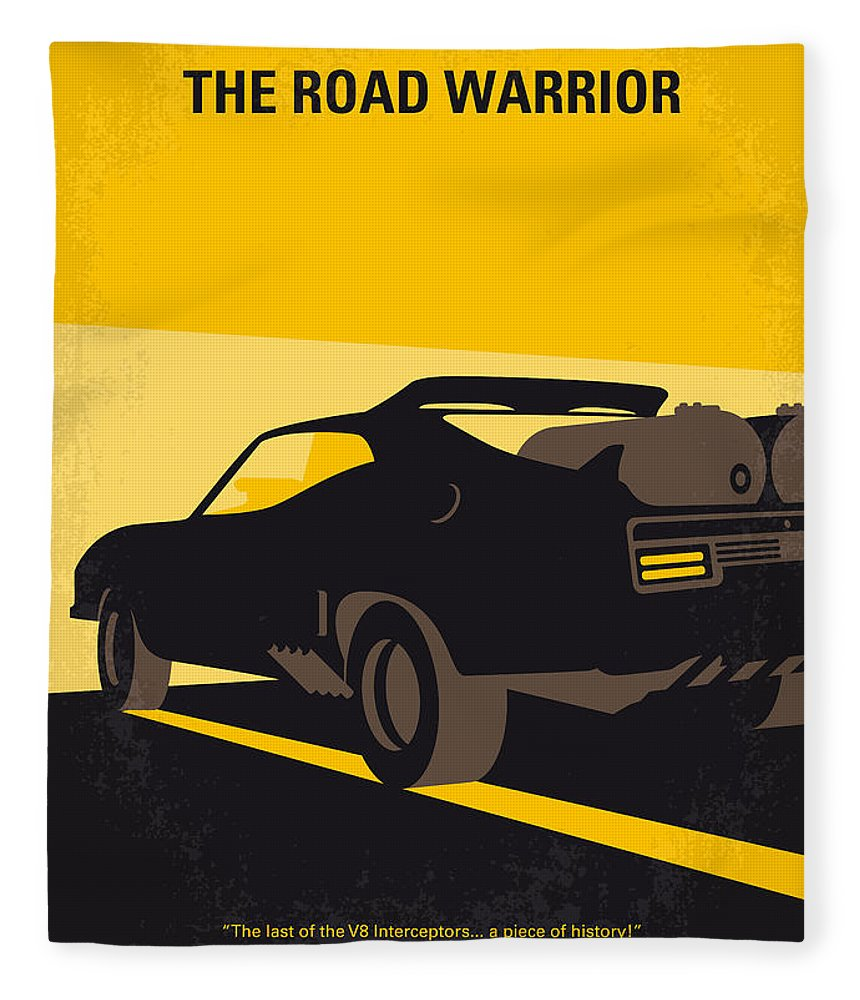 Road Warrior Fleece Blanket featuring the digital art No051 My Mad Max 2 Road Warrior Minimal Movie Poster by Chungkong Art