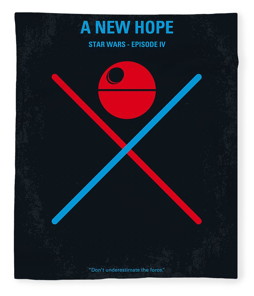 Star Fleece Blanket featuring the digital art No154 My STAR WARS Episode IV A New Hope minimal movie poster by Chungkong Art