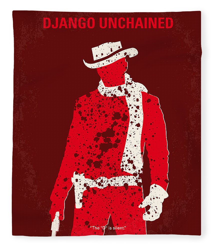 Django Fleece Blanket featuring the digital art No184 My Django Unchained Minimal Movie Poster by Chungkong Art