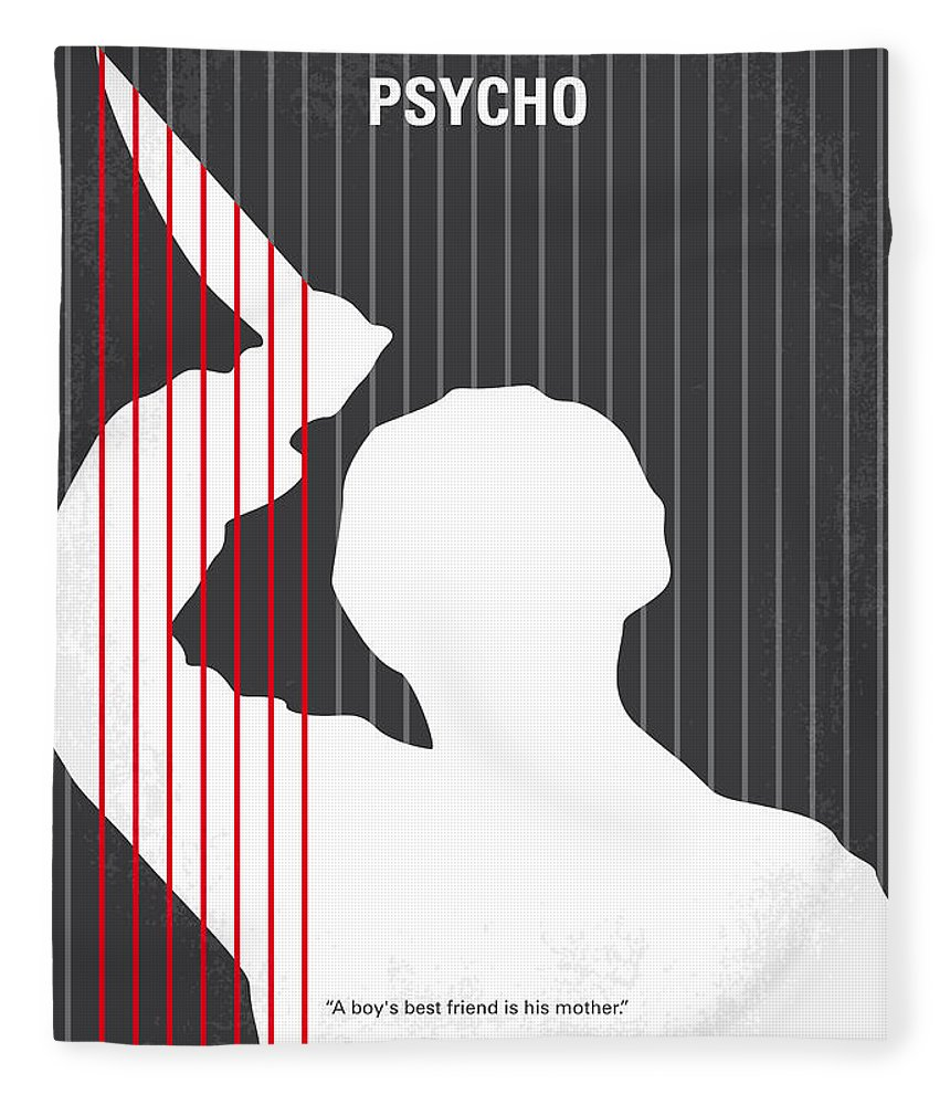 Psycho Fleece Blanket featuring the digital art No185 My Psycho Minimal Movie Poster by Chungkong Art