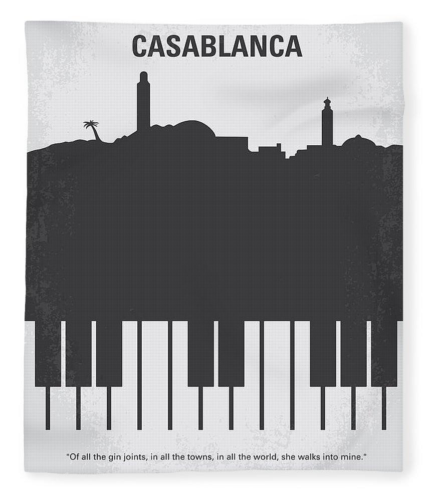 Casablanca Fleece Blanket featuring the digital art No192 My Casablanca minimal movie poster by Chungkong Art