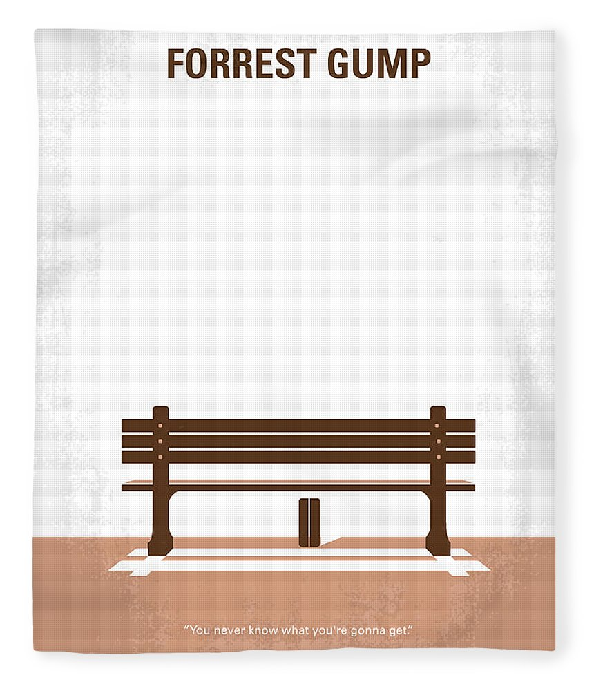 Forrest Fleece Blanket featuring the digital art No193 My Forrest Gump minimal movie poster by Chungkong Art