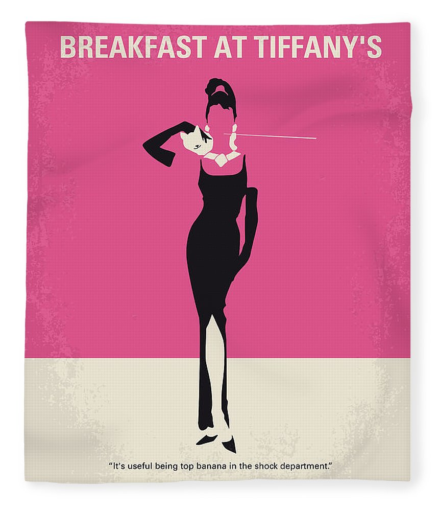 Breakfast Fleece Blanket featuring the digital art No204 My Breakfast at Tiffanys minimal movie poster by Chungkong Art
