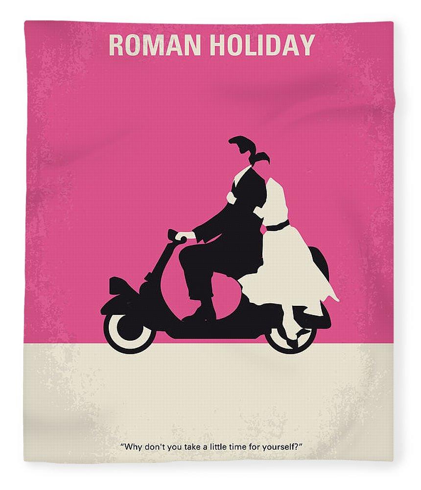 Roman Fleece Blanket featuring the digital art No205 My Roman Holiday minimal movie poster by Chungkong Art