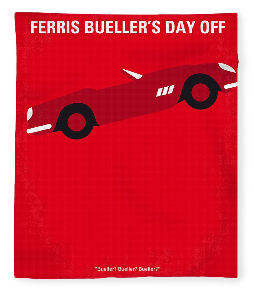 Ferris Fleece Blanket featuring the digital art No292 My Ferris Bueller's Day Off Minimal Movie Poster by Chungkong Art