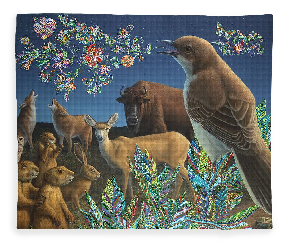 Mockingbird Fleece Blanket featuring the painting Nocturnal Cantata by James W Johnson