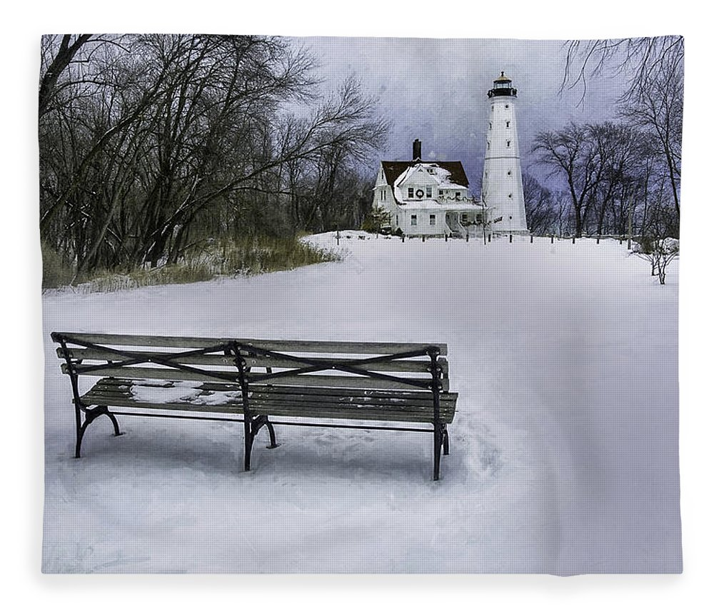 Lighthouse; Light House; Architecture; Beacon; Winter; Snow; Overcast; Cloudy; Cold; White; Tower; Keeper; House; Milwaukee; Lake Michigan; Structure; Building; Midwest; Shore; Nautical; Light Station; Coast; Frozen; Ice; Fine Art Photography; Scott Norris Photography; Bench; Sit; Rest; Park Bench; Wooden Bench Fleece Blanket featuring the photograph North Point Lighthouse And Bench by Scott Norris