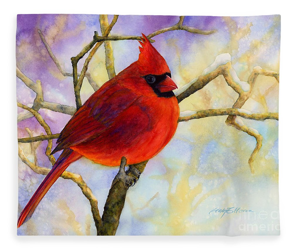 Cardinal Fleece Blanket featuring the painting Northern Cardinal by Hailey E Herrera