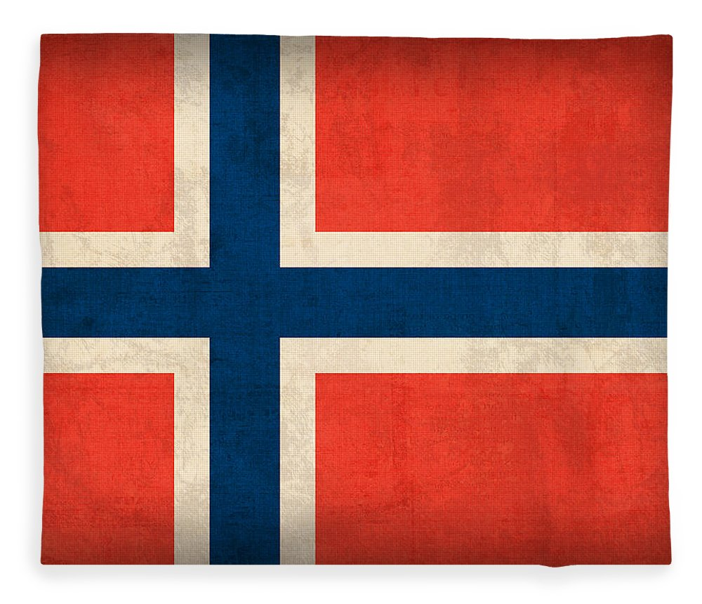 Norway Flag Distressed Vintage Finish Norwegian Oslo Scandinavian Europe Country Nation Fleece Blanket featuring the mixed media Norway Flag Distressed Vintage Finish by Design Turnpike