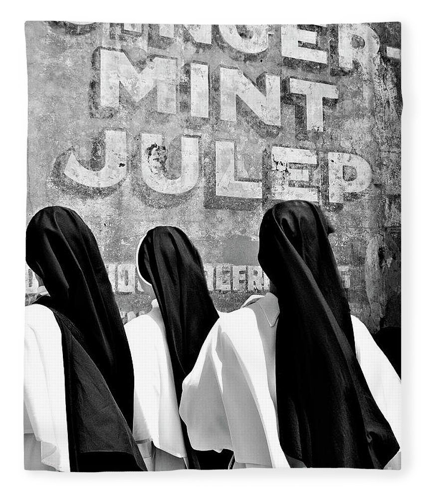 Black And White Fleece Blanket featuring the photograph Nun Of That by Kathleen K Parker
