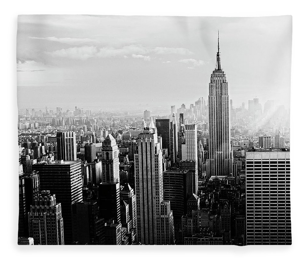 Lower Manhattan Fleece Blanket featuring the photograph Nyc Skyline.black And White by Lisa-blue