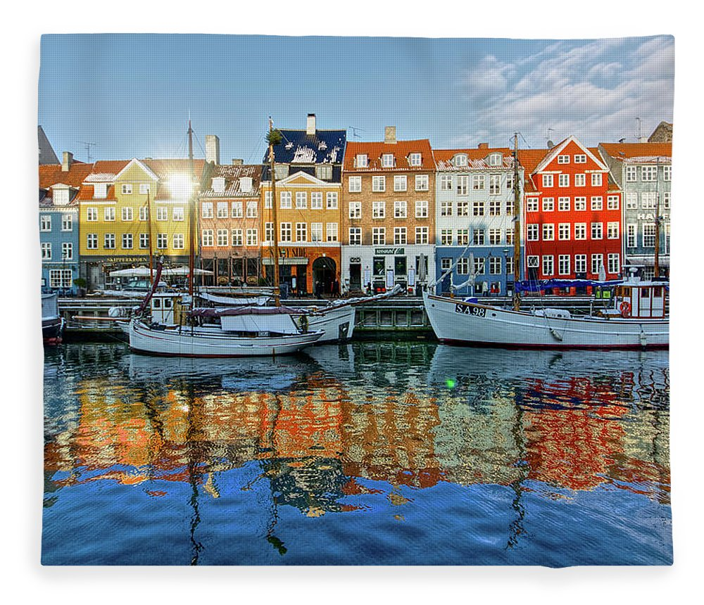 Copenhagen Fleece Blanket featuring the photograph Nyhavn, Copenhagen, Denmark by Kateryna Negoda