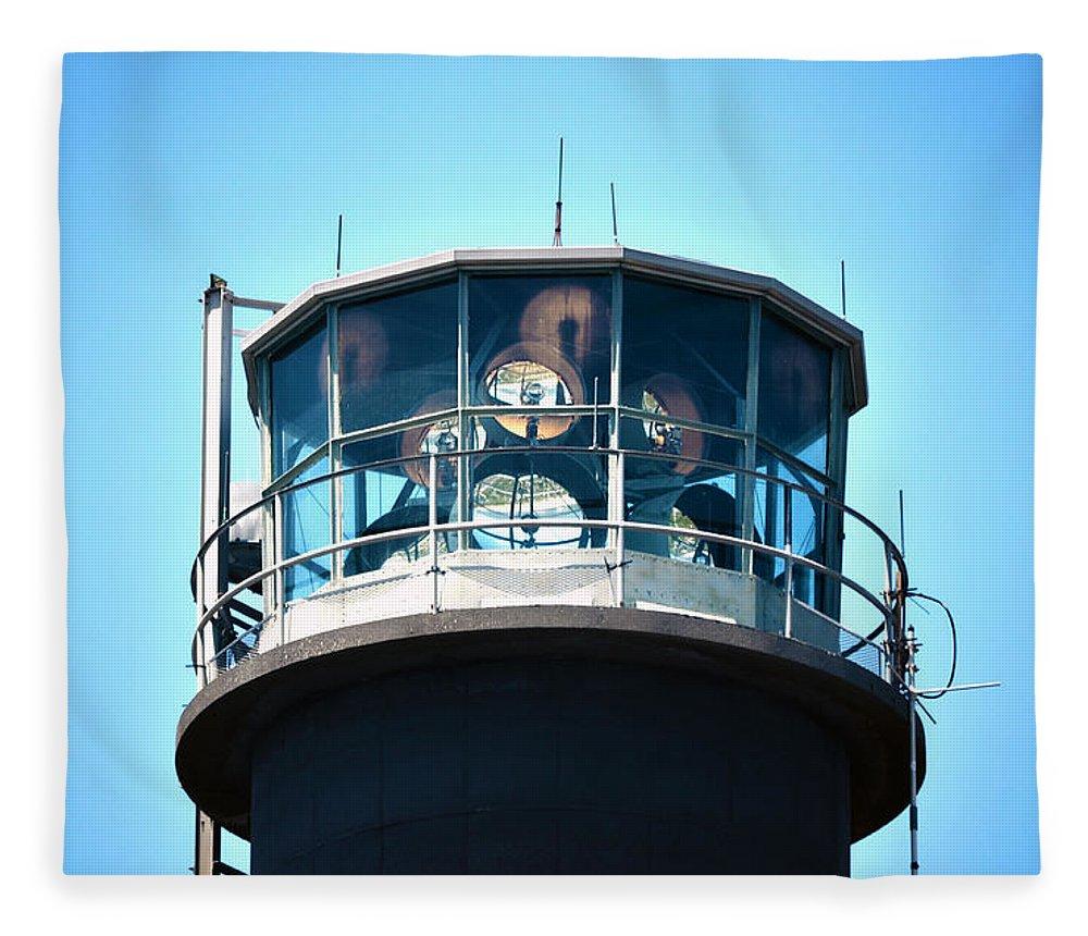Lighthouse Fleece Blanket featuring the photograph Oak Island Lighthouse Beacon Lights by Sandi OReilly