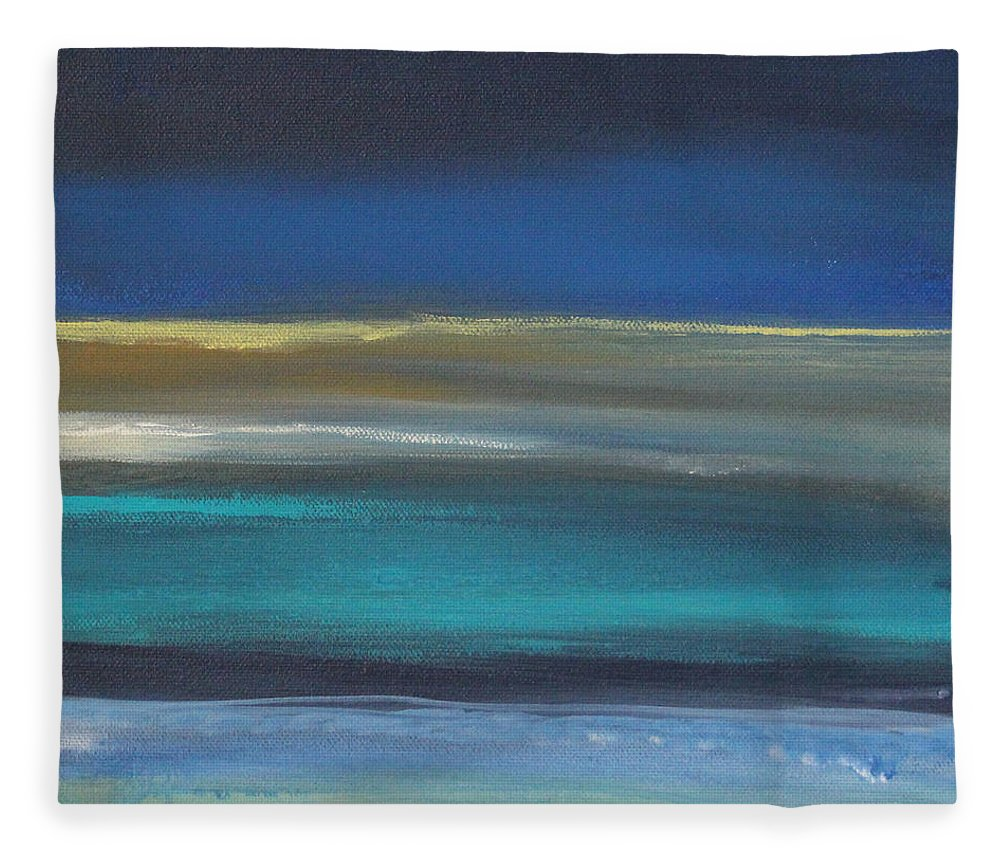 Abstract Painting Fleece Blanket featuring the painting Ocean Blue 2 by Linda Woods