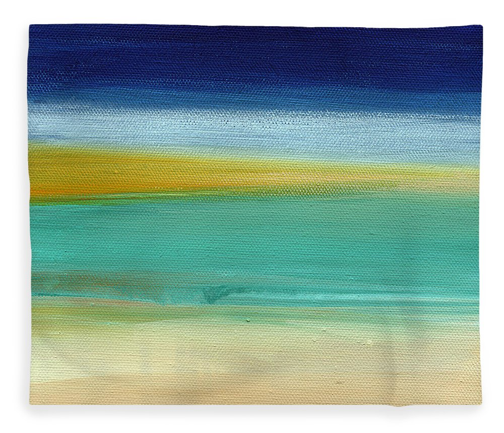 Abstract Fleece Blanket featuring the painting Ocean Blue 3- Art By Linda Woods by Linda Woods