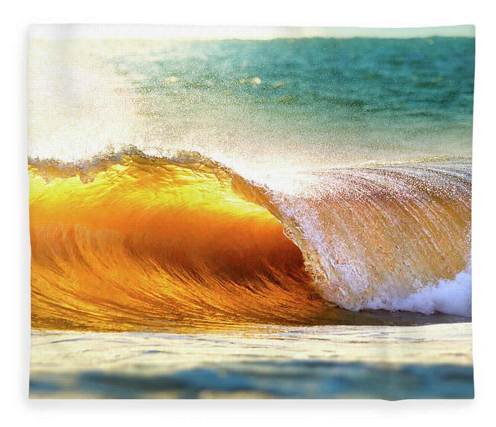 Tranquility Fleece Blanket featuring the photograph Ocean Wave Breaking At Sunset by Elojotorpe