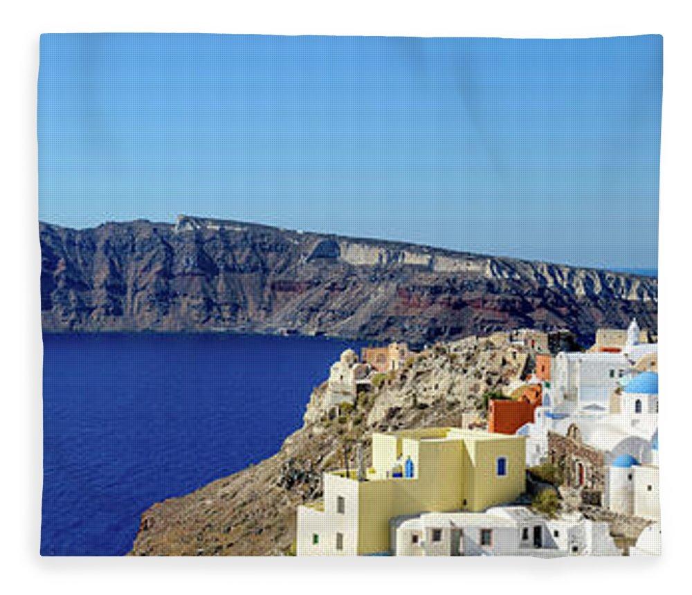 Scenics Fleece Blanket featuring the photograph Oia Panoramic, Santorini, Greece by Chrishepburn