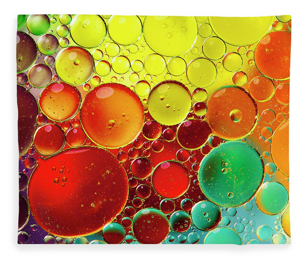 Full Frame Fleece Blanket featuring the photograph Oil Bubbles In Water by Ramoncovelo