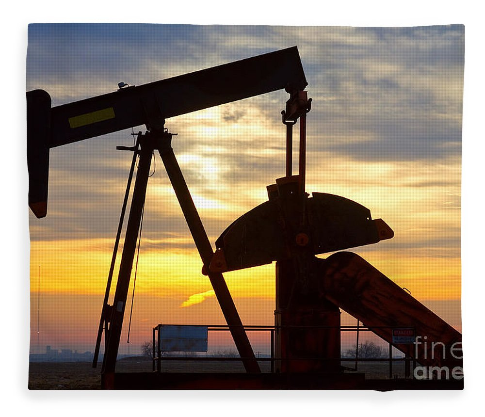 Oil Fleece Blanket featuring the photograph Oil Pump Sunrise by James BO Insogna