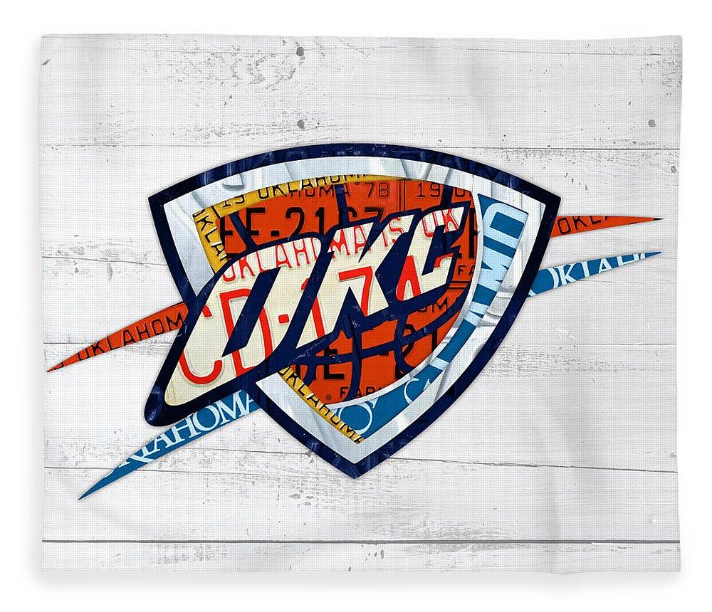 Okc Fleece Blanket Featuring The Mixed Media Thunder Basketball Team Retro Logo Vintage Recycled Oklahoma