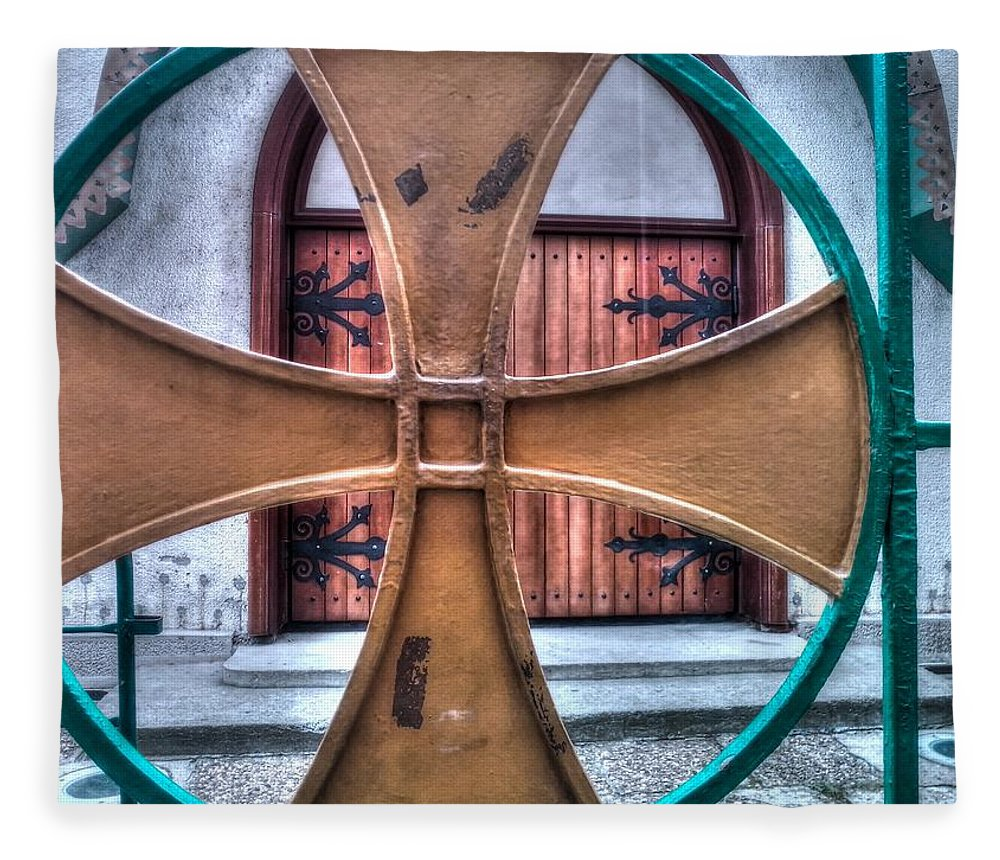 Architectural Feature Fleece Blanket featuring the photograph Old Church Door by Serdjophoto