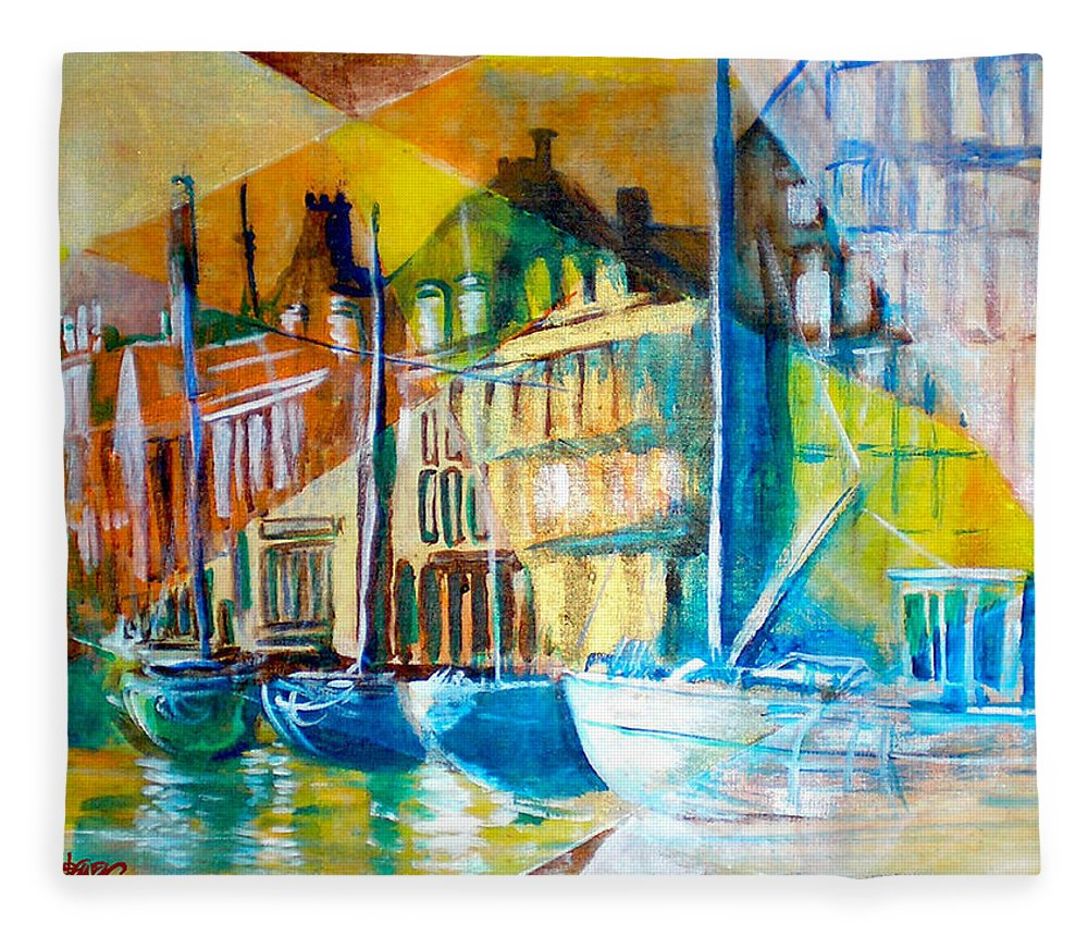 Old World Street Fleece Blanket featuring the painting Old Copenhagen thru Stained Glass by Seth Weaver