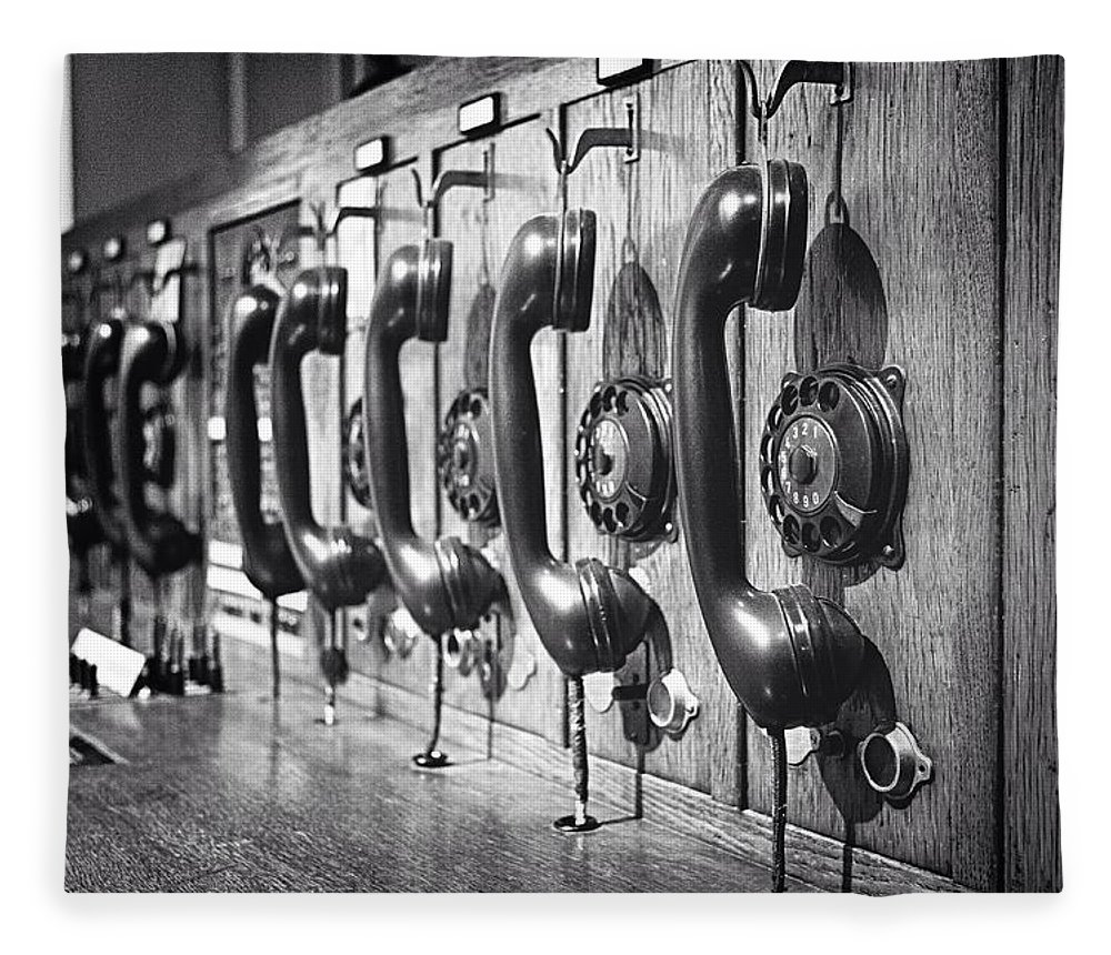 In A Row Fleece Blanket featuring the photograph Old-fashioned Wooden Telephone by Anja Heid / Eyeem