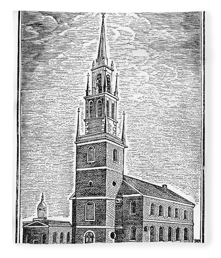1775 Fleece Blanket featuring the photograph Old North Church, 1775 by Granger