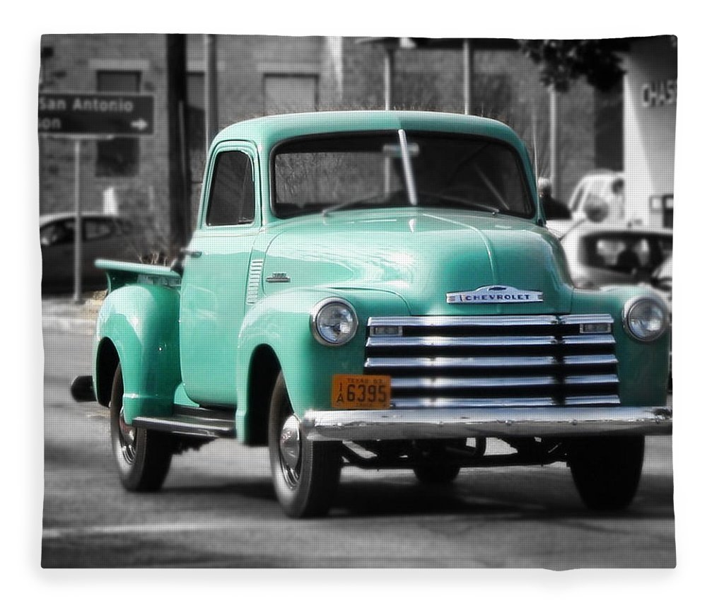 Old Pickup Truck Photo Teal Chevrolet Fleece Blanket for Sale by ...