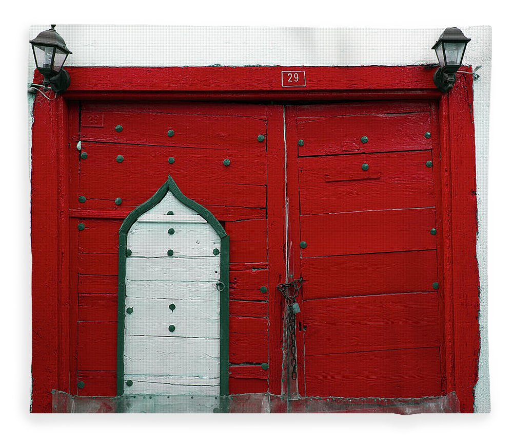 Hinge Fleece Blanket featuring the photograph Old Style Red Colored Door by Okeyphotos