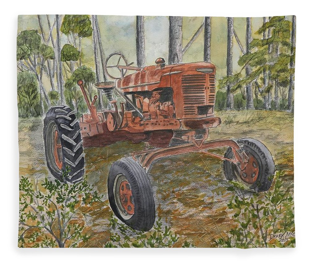 Old Fleece Blanket featuring the painting Old Tractor Vintage Art by Derek Mccrea