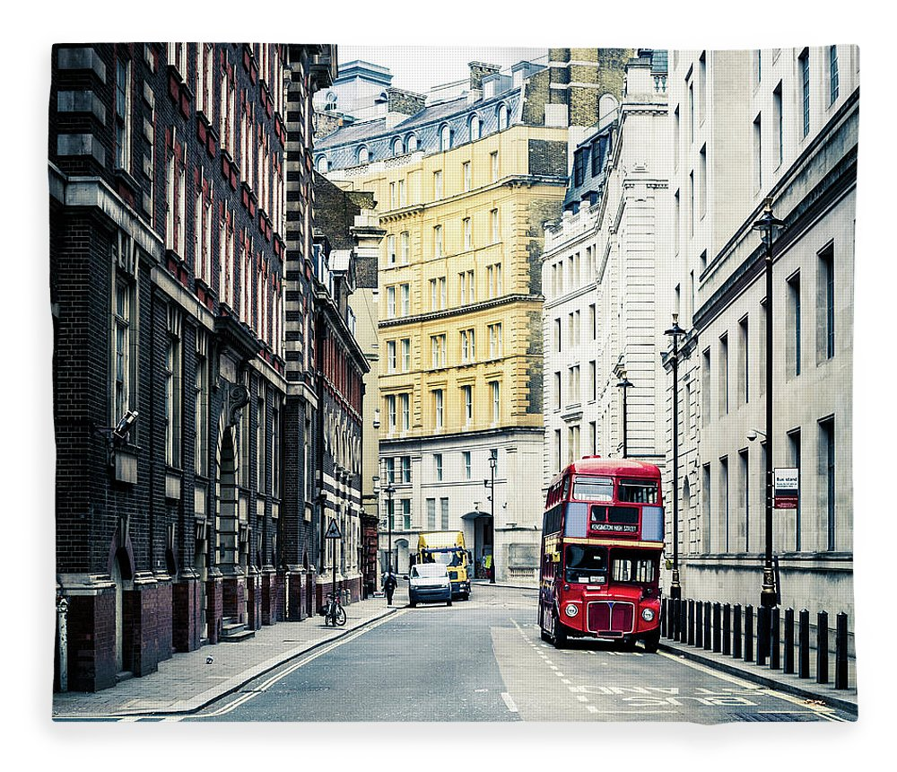 Downtown District Fleece Blanket featuring the photograph Old Vintage Red Double Decker Bus In by Zodebala