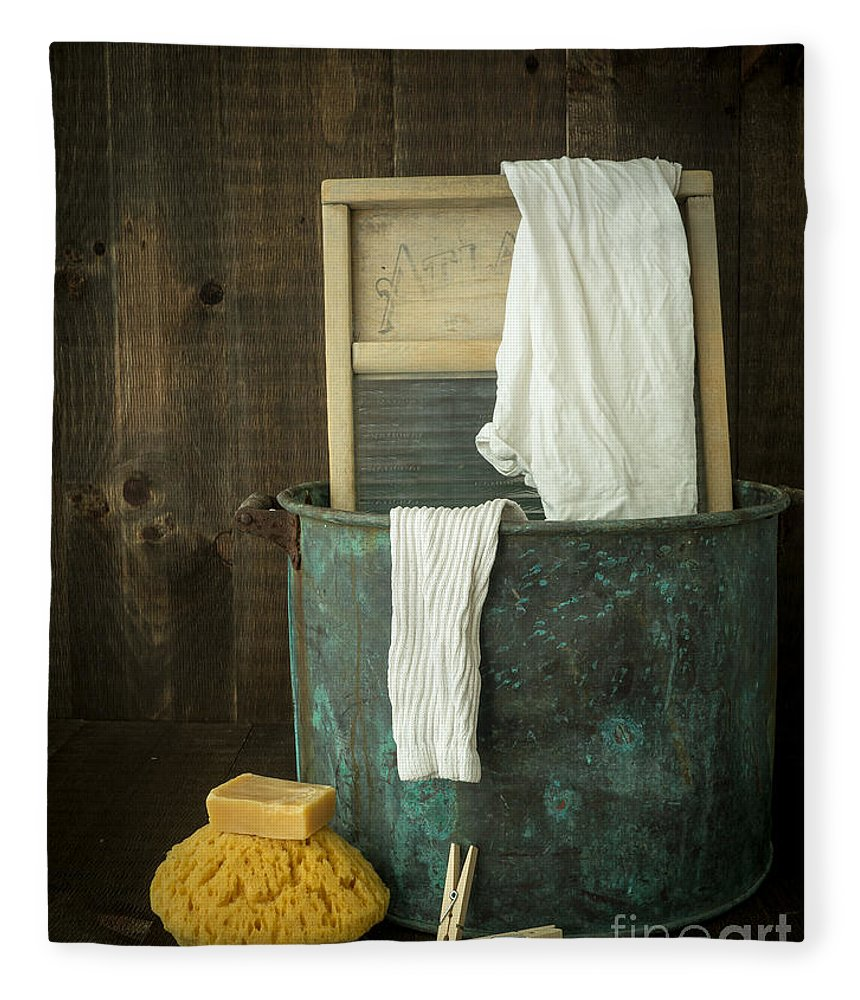 Laundry Fleece Blanket featuring the photograph Old Washboard Laundry Days by Edward Fielding