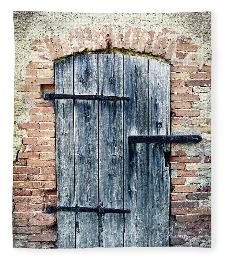 Arch Fleece Blanket featuring the photograph Old Wooden Door by Styf22