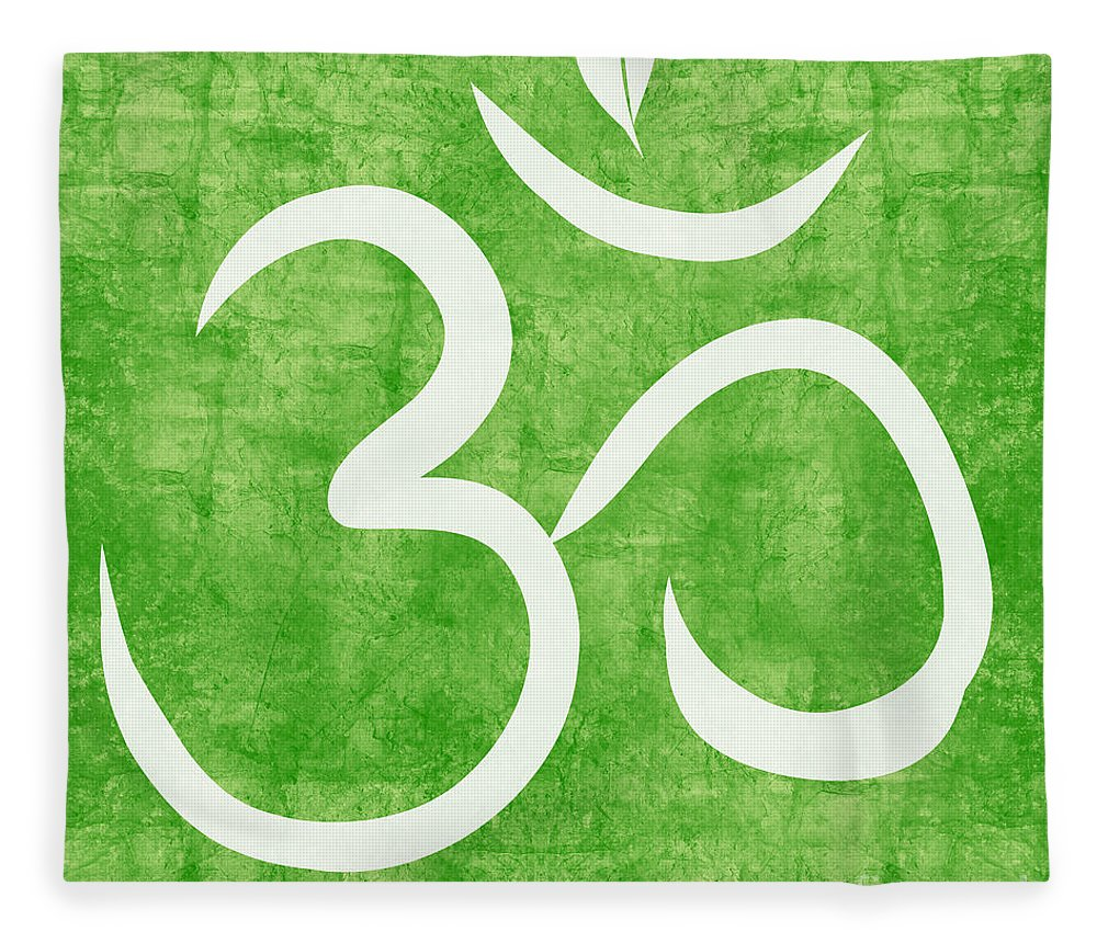 Om Fleece Blanket featuring the painting Om Green by Linda Woods