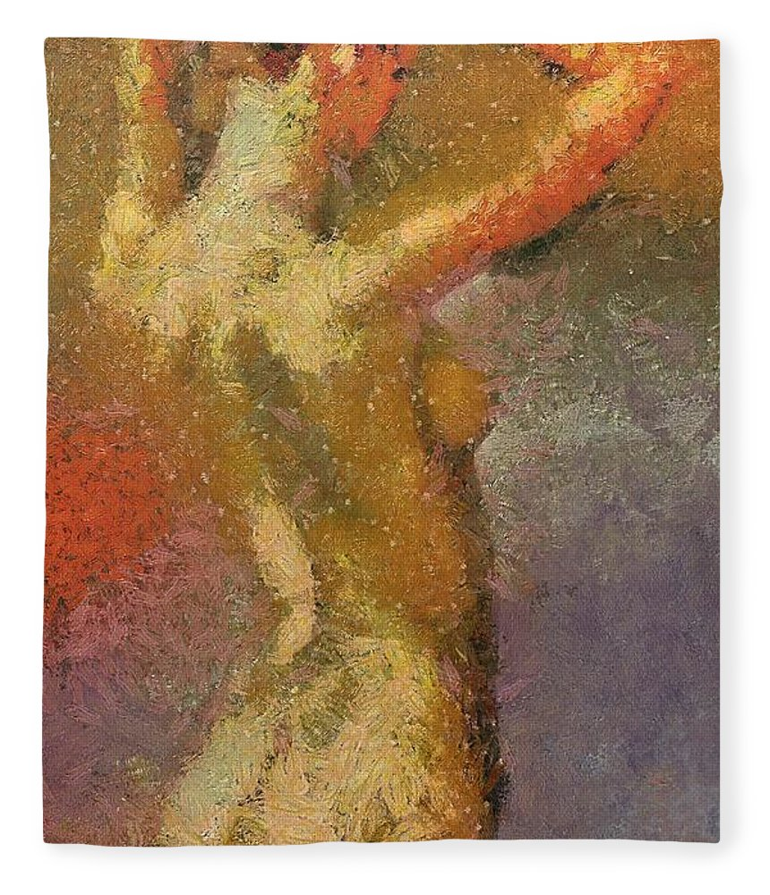 Female Fleece Blanket featuring the painting On A Hot Summer Day by Dragica Micki Fortuna